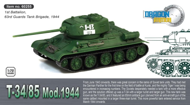 Dragon Military 1/72 T-34/85 1st Battalion, 63rd Guards Tank Brigade 1944 - Assembled