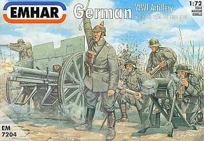 Emhar Military 1/72 WWI German Artillery (24) w/2 96 n/A 76mm Guns Kit