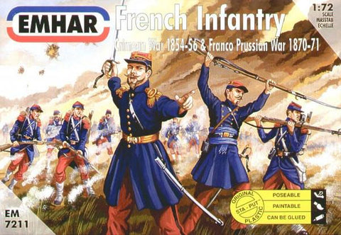 Emhar Military 1/72 Crimean War 1854-56 & Franco Prussian War 1870-71 French Infantry (50) Kit