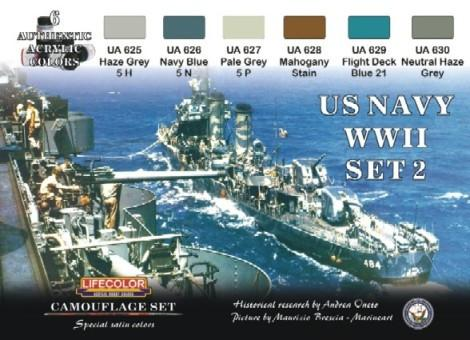 Lifecolor Acrylic US Navy WWII #2 Camouflage Acrylic Set (6 22ml Bottles)