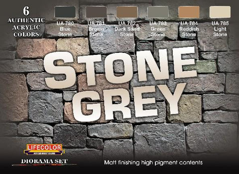 Lifecolor Acrylic Stone Grey Diorama Acrylic Set (6 22ml Bottles)