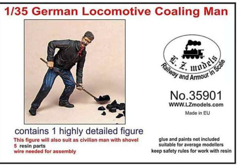LZ Models 1/35 German Locomotive Fireman w/Shovel (Resin) Kit