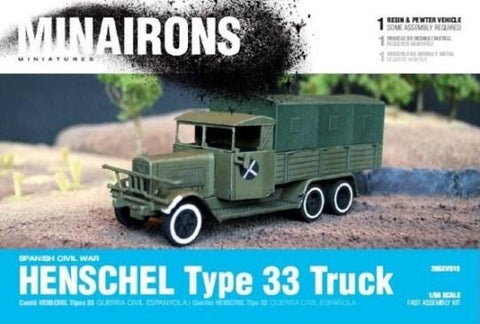 Minairons Miniatures 1/56 Spanish Civil War: Henschel Type 33 Truck (1) (Resin) Kit