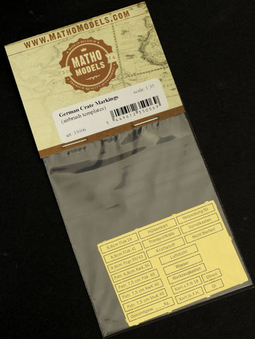Matho 1/35 German Crate Markings Airbrush Template, Photo-Etch (21 Different)