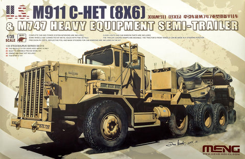 Meng 1/35 M911 C-HET Heavy Tractor & M747 Heavy Equipment Semi-Trailer (New Tool) Kit