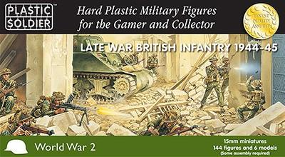 Plastic Soldier 15mm Late WWII British Infantry (144) w/2 inch Mortars (6) 1944-45 Kit