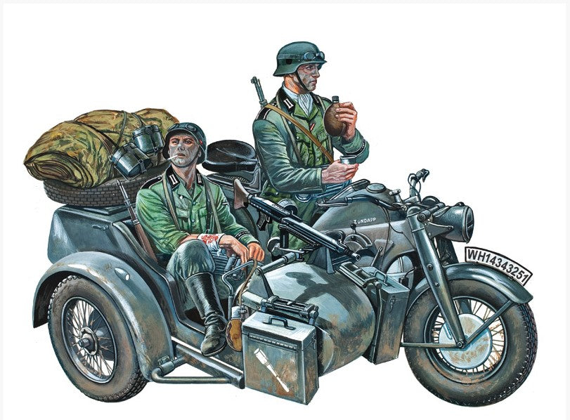 Italeri Military 1/35 KS750 Zundapp Motorcycle w/Sidecar & Crew Kit