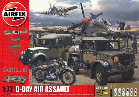 Airfix Military 1/72 D-Day Air Assault Gift Set w/Paint & Glue (Re-Issue) Kit