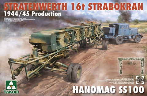 Takom 1/35 Stratenwerth 16t Strabokran Heavy Crane 1944/45 Production & Hanomag SS100 Transporter Kit
