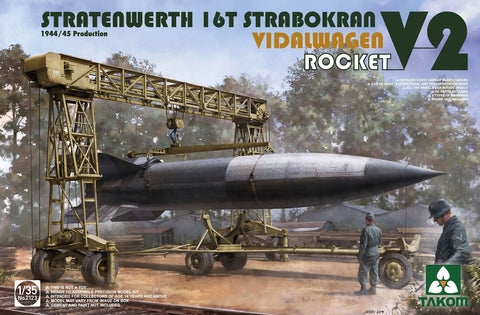 Takom 1/35 Stratenwerth 16t Strabokran Heavy Crane 1944/45 Production & V2 Vidalwagon Rocket Kit
