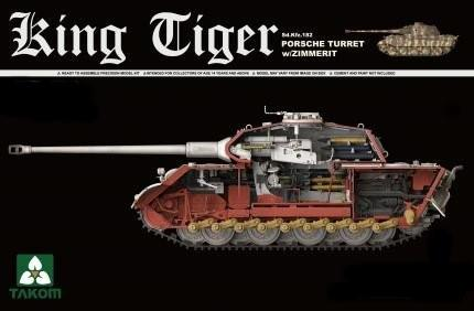 Takom 1/35 WWII German King Tiger SdKfz 182 Porsche Turret Heavy Tank w/Zimmerit & Interior Kit