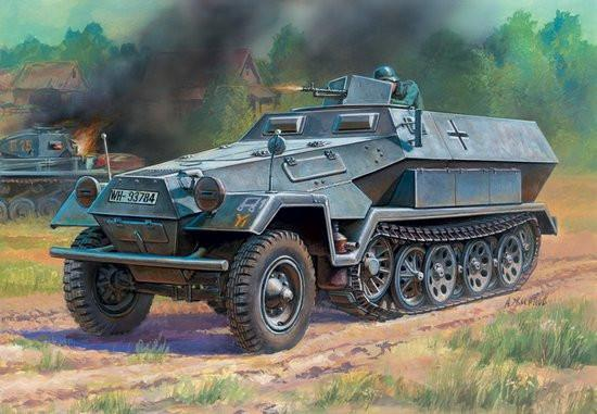 Zvezda 1/100 WWII SdKfz 251/1 Ausf B Personnel Carrier Snap Kit