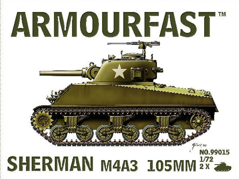 Armourfast Military 1/72 Sherman M4A3 Tank w/105mm Gun (2) Kit