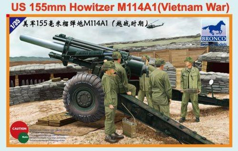 Bronco Military 1/35 US 155mm M114A1 Howitzer Gun Vietnam War Kit