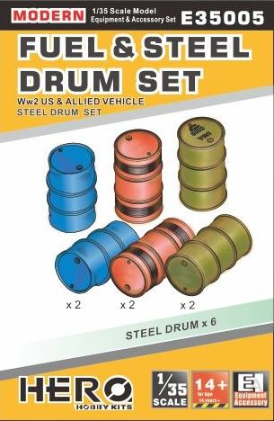 Hero Hobby 1/35 WWII US/Allied & Modern Fuel & Steel Drums (6) Kit