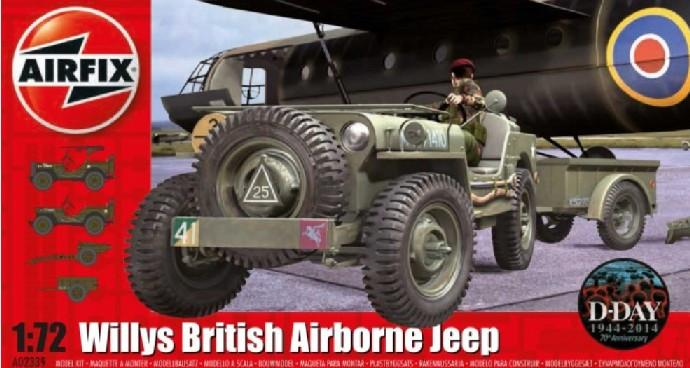 Airfix 1/72 Willys British Airborne Jeep, Trailer & 75mm Howitzer M1 Gun D-Day Kit