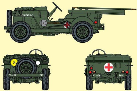 Dragon 1/35 1/4-Ton 4x4 Ambulance Truck w/Bonus 6 GI Figures Kit