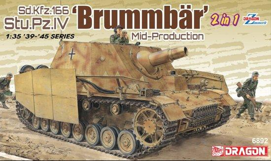 Dragon Military Models 1/35 Sd.Kfz.166 Stu.Pz.IV 'Brummbar' Mid-Production (2 In 1) Kit