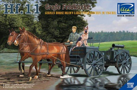 Riich Military 1/35 German Horse Drawn Large Field Kitchen Hf.11(w/two horses, one soldier & one dog figures) Kit