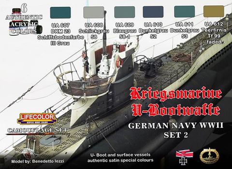 Lifecolor Acrylic German WWII Kriegsmarine #2 Camouflage Acrylic Set (6 22ml Bottles)