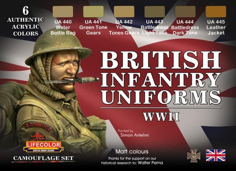 Lifecolor Acrylic British WWII Infantry Uniforms Acrylic Set (6 22ml Bottles)