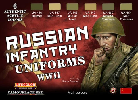 Lifecolor Acrylic Russian WWII Infantry Uniforms Acrylic Set (6 22ml Bottles)