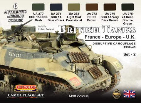 Lifecolor Acrylic British Tanks France, Europe, UK 1936-45 Disruptive #2 Camouflage Acrylic Set (6 22ml Bottles)