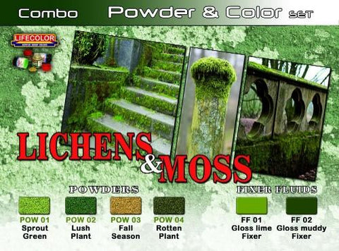 Lifecolor Acrylic Lichens & Moss Powder & Color Acrylic Set