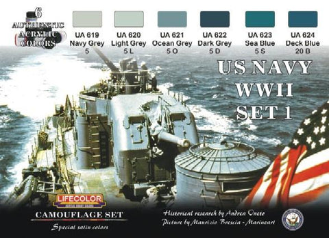 Lifecolor Acrylic US Navy WWII #1 Camouflage Acrylic Set (6 22ml Bottles)