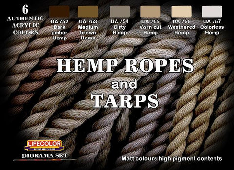 Lifecolor Acrylic Hemp Ropes & Tarps Diorama Acrylic Set (6 22ml Bottles)