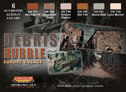 Lifecolor Acrylic Debris Rubble & Europe Village Diorama Acrylic Set (6 22ml Bottles)