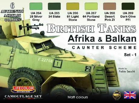 Lifecolor Acrylic British WWII Tanks Afrika & Balkan Caunter Scheme #1 Acrylic Set