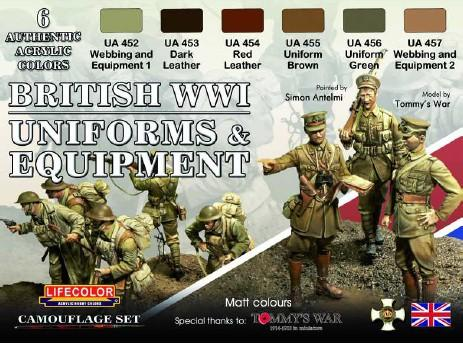 Lifecolor Acrylic British WWII Uniforms & Equipment Acrylic Set