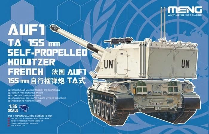 Meng Military Models 1/35 Auf1 TA 155mm Self-Propelled Howitzer French Tank (UN & MATO Markings) Kit
