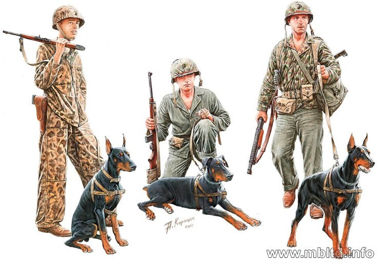 Master Box Ltd 1/35 WWII Dogs in USMC Service (3 w/3 Figures) Kit