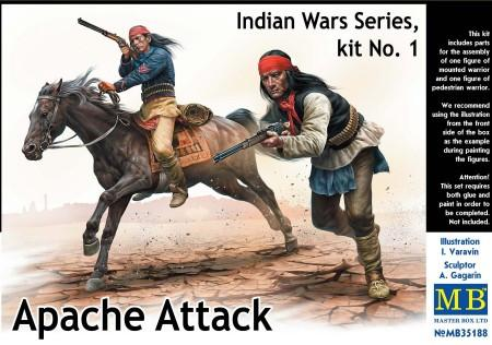 Master Box 1/35 Apache Attack Indians w/Rifles (2) & Horse (1) Kit (New Tool)