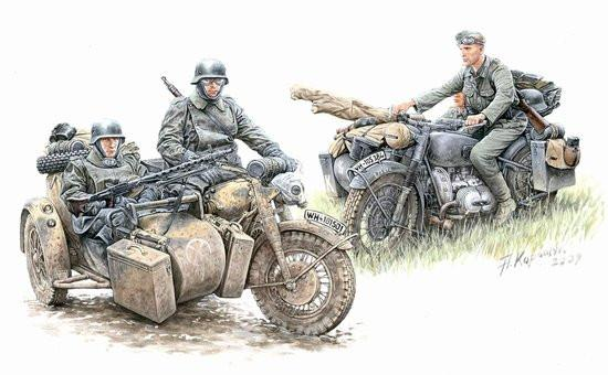 Master Box Ltd 1/35 German Motorcycle Troops on the Move (4) Kit