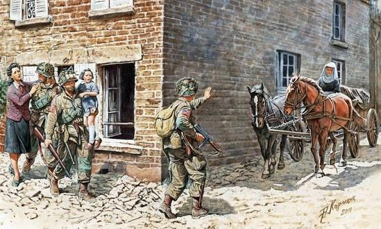 Master Box Ltd 1/35 US Soldiers & Civilians France (6 Figs, 2 Horses & Cart) Kit
