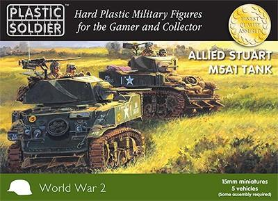 Plastic Soldier 15mm WWII Allied Stuart M5A1 Tank (5) Kit