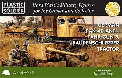 Plastic Soldier 15mm WWII German Pak40 Anti-Tank Gun & Raupenschlepper Tractor (4ea) w/Crew (32) Kit