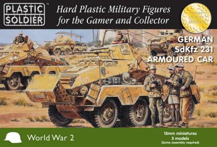 Plastic Soldier 15mm WWII German SdKfz 231 8-Rad Armoured Car (5) & Crew (10)