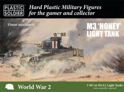 Plastic Soldier 15mm WWII M3/M3A1 Honey Light Tank (5) & Crew (10) Kit