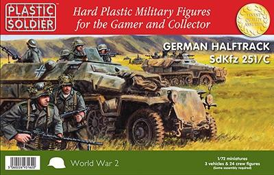 Plastic Soldier 1/72 WWII German SdKfz 251/C Halftrack (3) & Crew (24) Kit