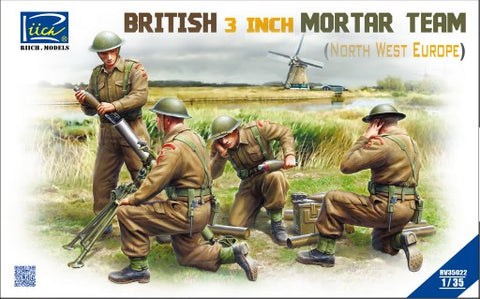 Riich Military 1/35 British 3-Inch Mortar & Team (4) North West Europe Kit