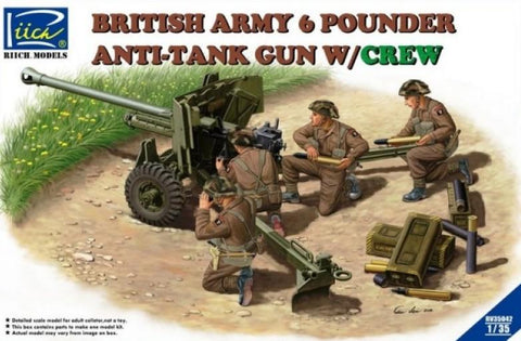 Riich Military 1/35 British Army 6-Pdr. Infantry Anti-Tank Gun w/4 Crew Kit