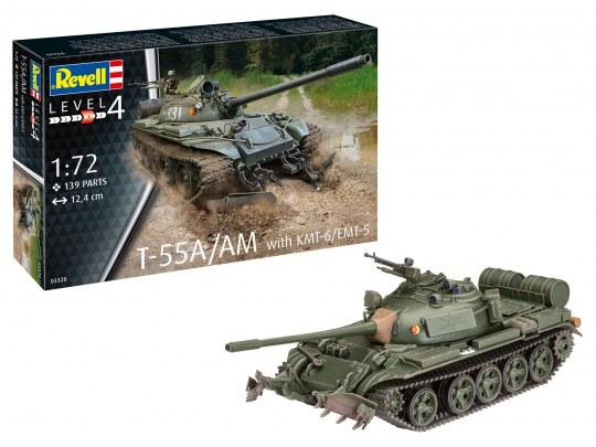 Revell Germany 1/72 T55A/AM Main Battle Tank w/KMT6/EMT5 Mine Plow (w/New Tooling) Kit