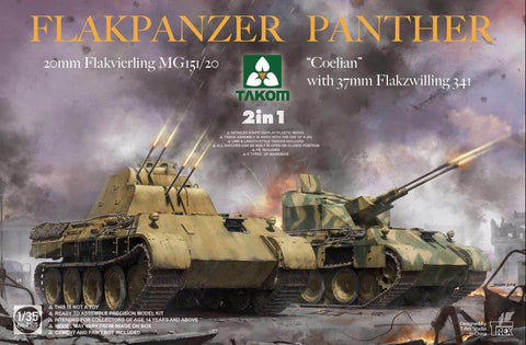 Takom 1/35 Flakpanzer Panther 20mm Flakvierling MB151/20 & Coelian w/37m Flakzwilling 341 (2 in 1) Kit