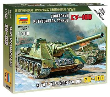 Zvezda 1/100 Soviet Su100 Self-Propelled Gun Tank Snap Kit
