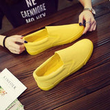 •	Thestron Fashion Sneakers Men Casual Shoes Autumn Shoes Yellow Slip-On Male Fashion Shoes Man Canvas Footwear Breathable