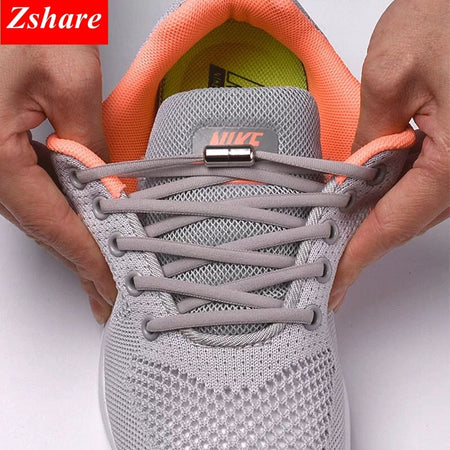 1Pair No tie Shoelaces Round Elastic Shoe Laces For Kids and Adult Sneakers Shoelace